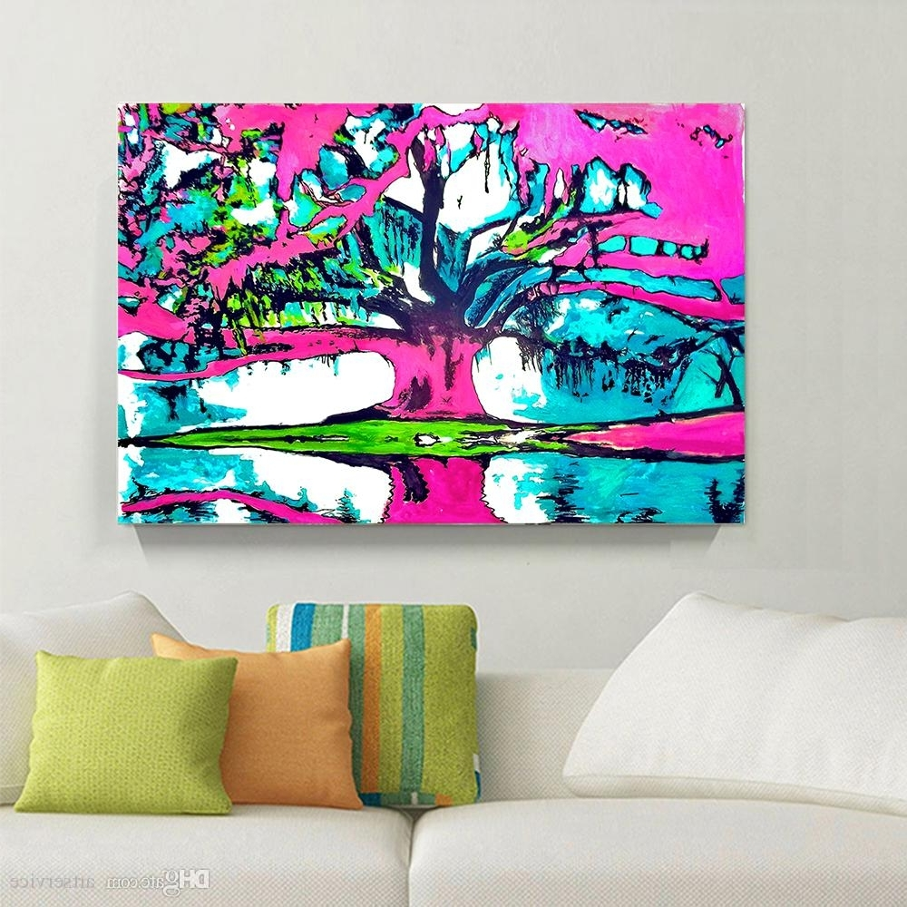 Colorful Wall Art Intended For Best And Newest 2018 1 Panels Abstract Colorful Tree Home Decor Wall Art Picture (Gallery 13 of 20)