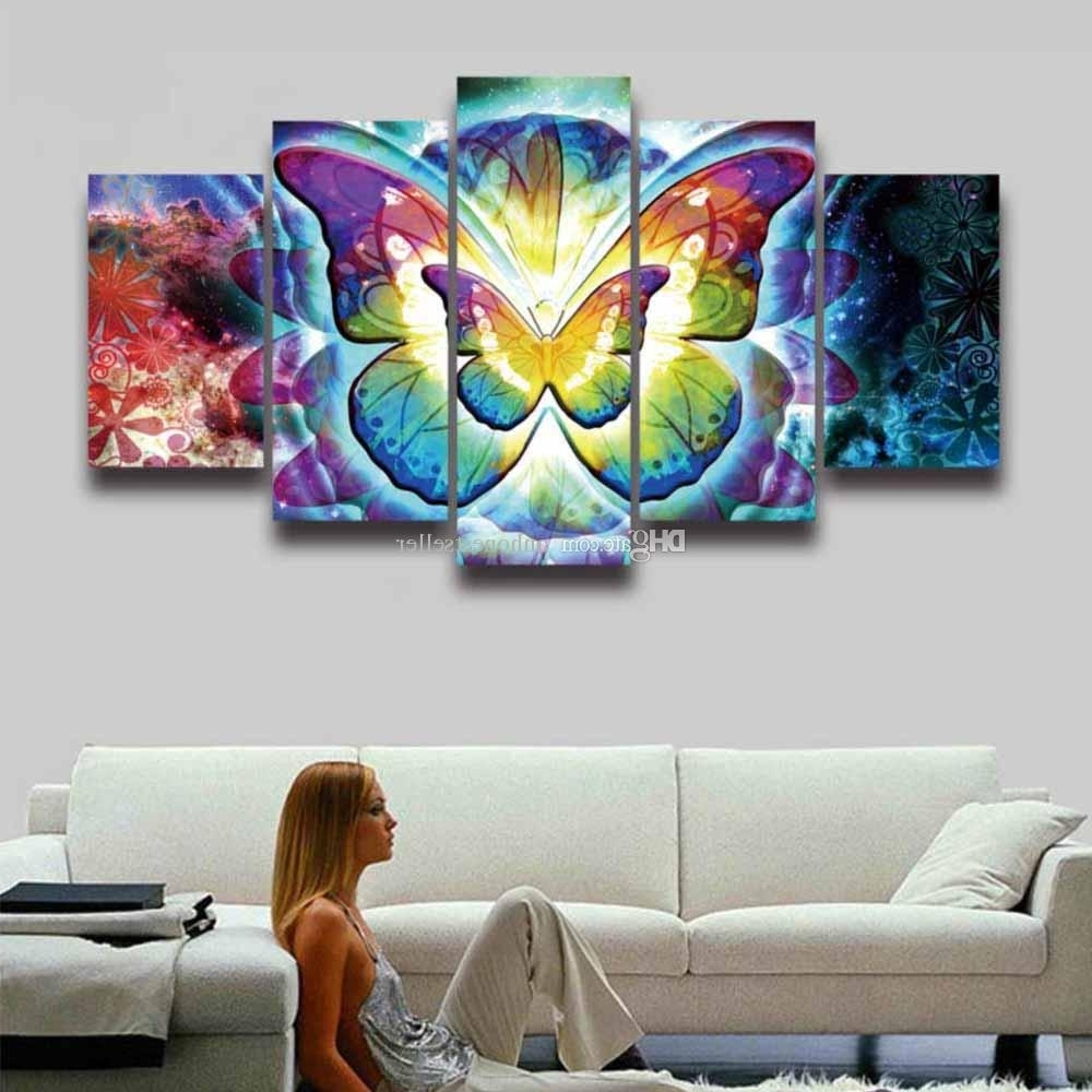Colorful Wall Art Regarding Most Up To Date 2018 5 Panel Painting Canvas Wall Art Colorful Butterfly Modular (Gallery 7 of 20)
