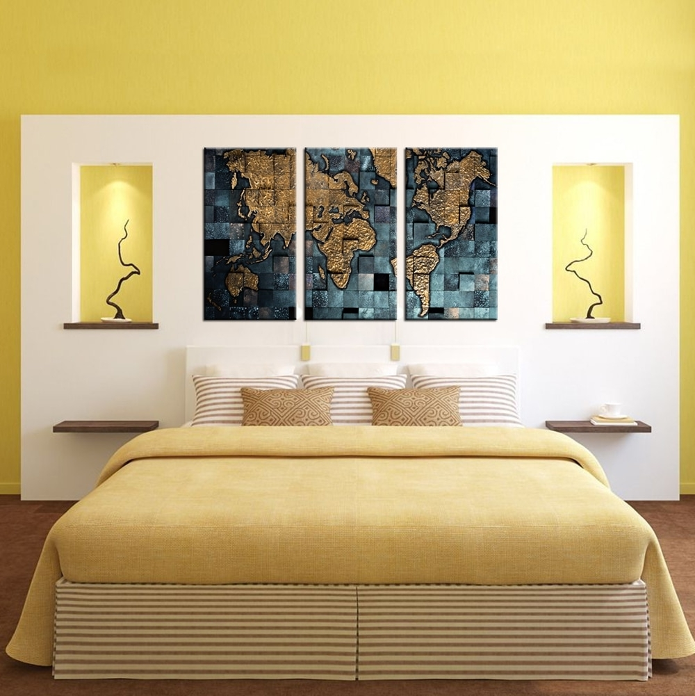 Contemporary Wall Art Decors With Regard To Most Recently Released 3 Panel Wall Art World Map Poster Office Decor Contemporary Wall (View 10 of 20)