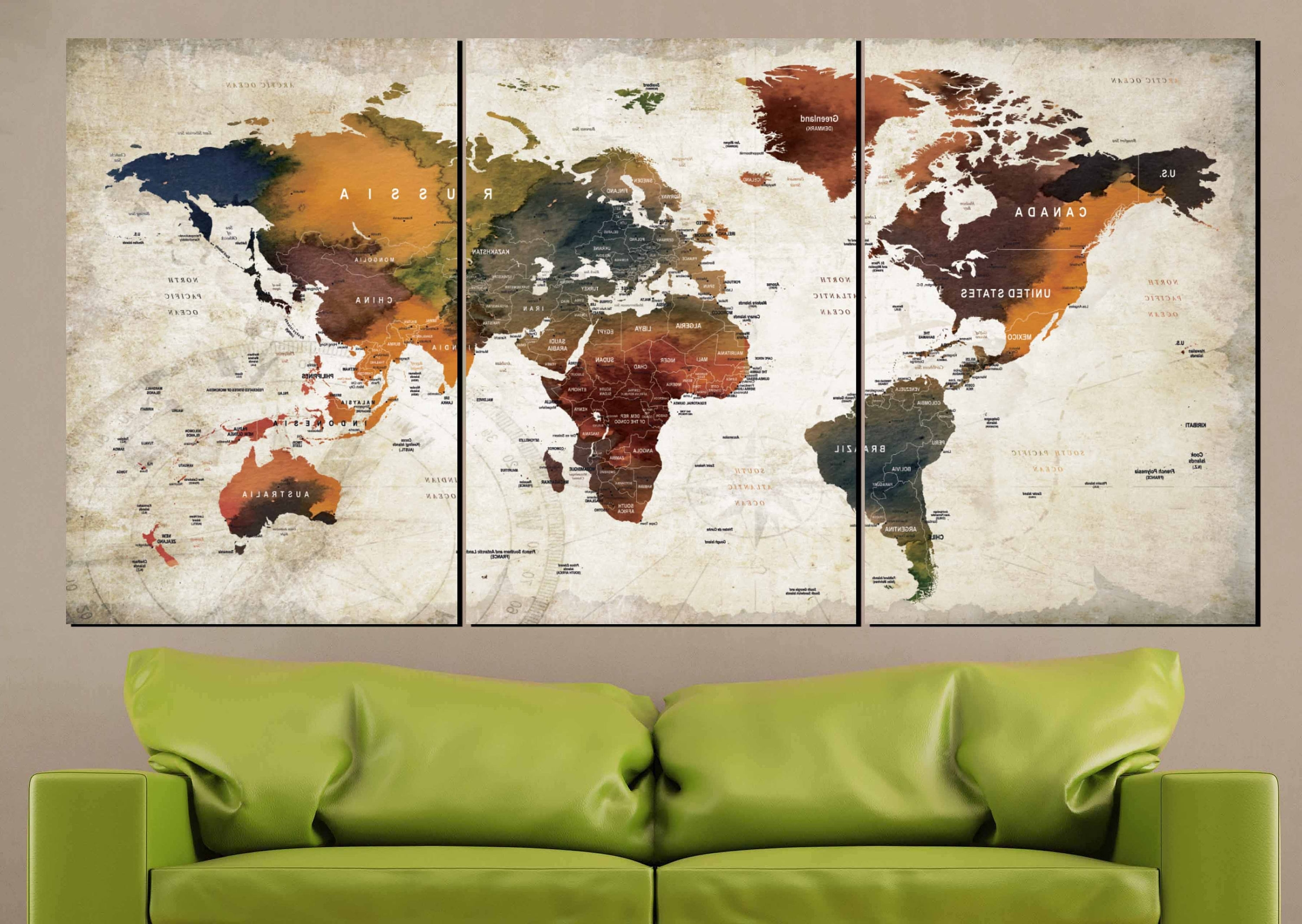 Cool Map Wall Art With Most Up To Date Watercolor World Map Art Canvas Panels,world Map Wall Art,world Map (View 7 of 20)