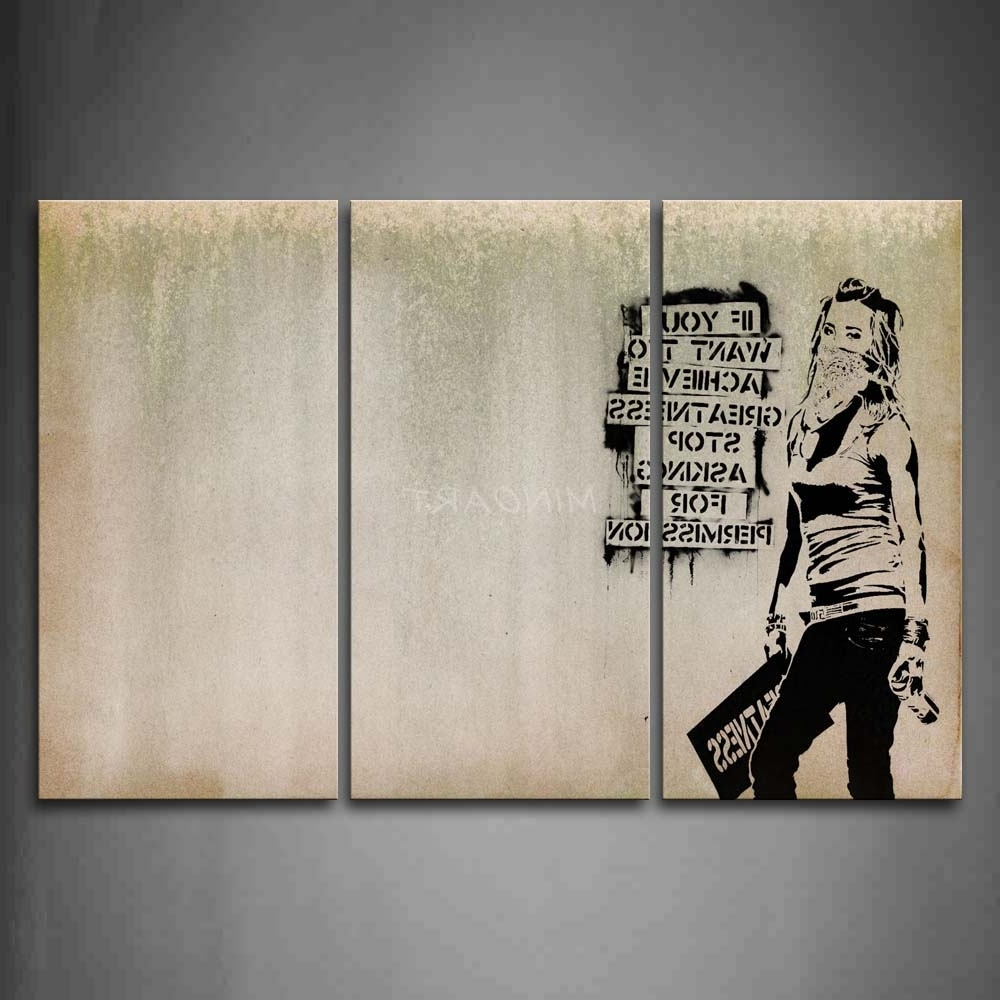 Cool Wall Art Throughout Most Current 3 Piece Wall Art Painting Cool Girl Looks Arrogant Print On Canvas (View 6 of 15)