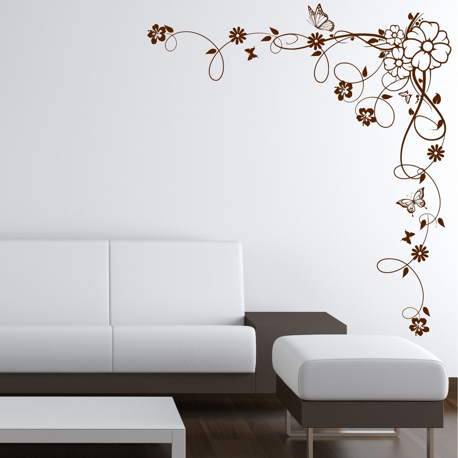 Corner Wall Art Inside Well Known Corner Flower Vine Hibiscus Wall Art Sticker Vinyl Transfer Decal (Gallery 8 of 20)
