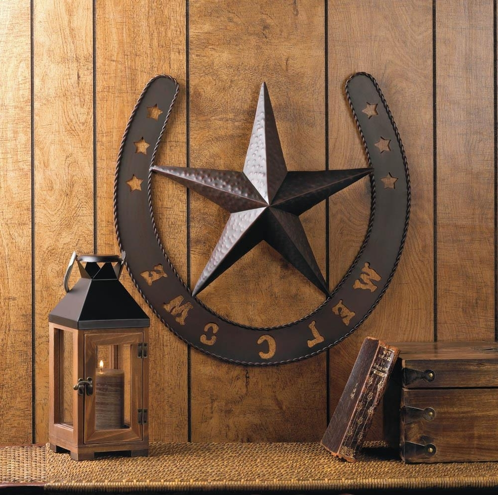 Country Wall Art In Most Recently Released Rustic Welcome Star Horseshoe Country Cowboy Horse Metal Wall Art (View 6 of 20)