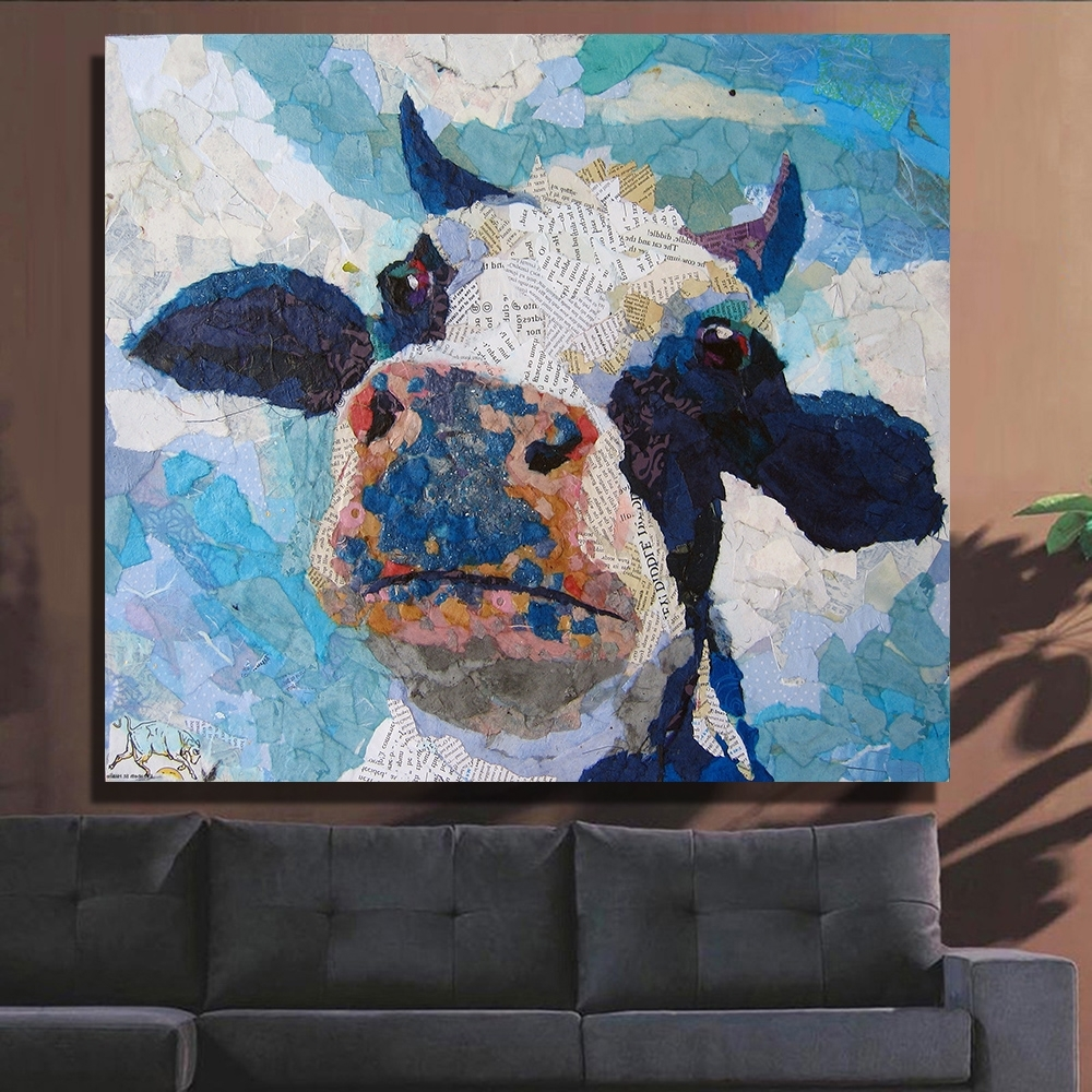 Cow Canvas Wall Art Intended For Widely Used Qkart Wall Decor Artwork Painting Cow Head Oil Painting On Canvas (View 6 of 20)