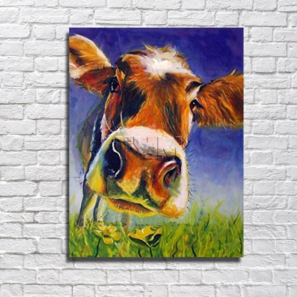 Cow Canvas Wall Art Regarding Current Best Handsome Cow Canvas Wall Art Oil Painting Decor Home Living (View 7 of 20)