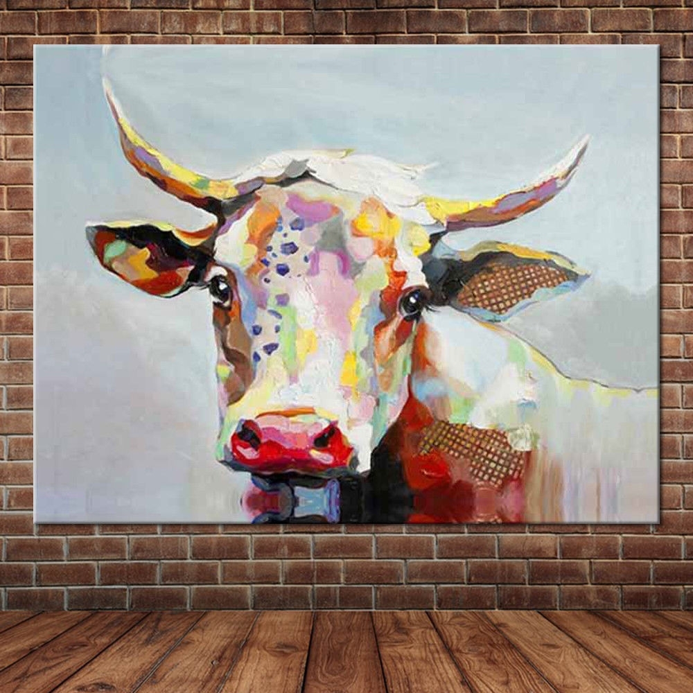 Cow Canvas Wall Art With Regard To Well Known Canvas Wall Art Cute Animal Colorful Cow Hand Painted Oil Painting (View 8 of 20)