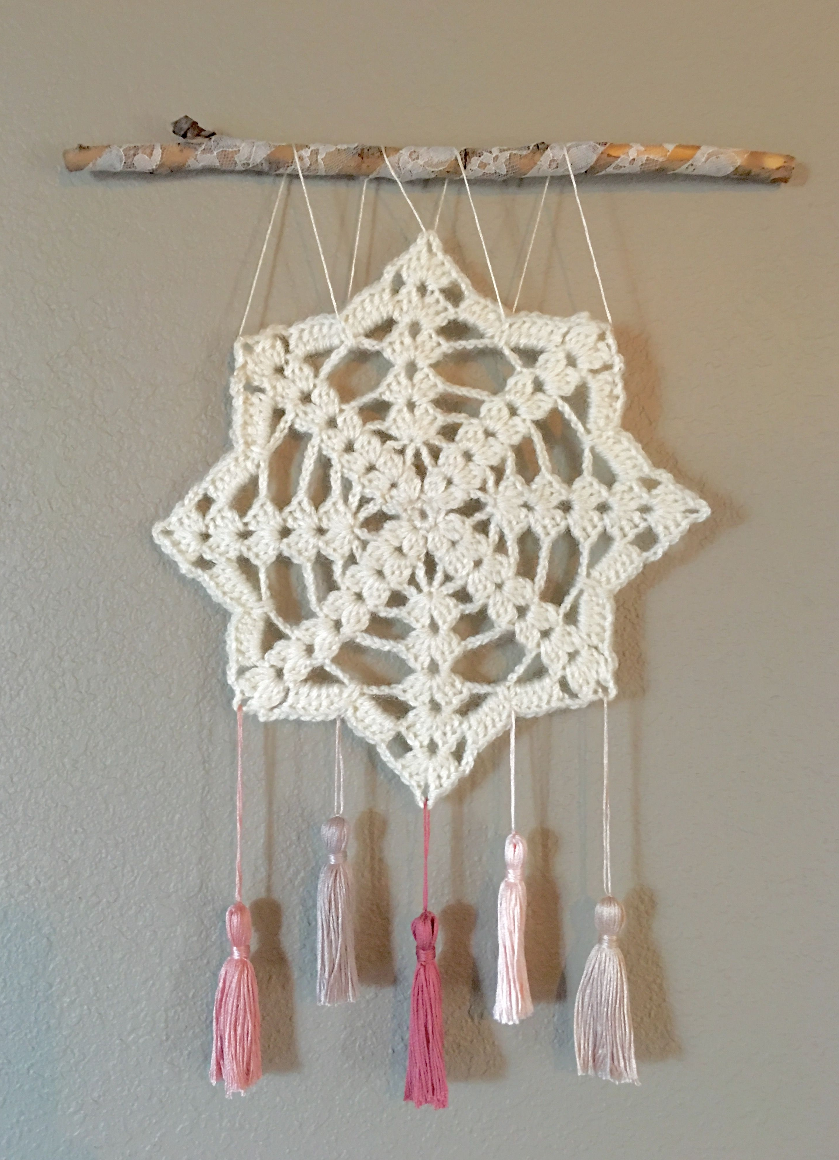Crochet Wall Art Pertaining To Best And Newest Crochet Wall Hanging, Wall Decor, Doily Art, Shabby Chic Wall Art (View 6 of 20)