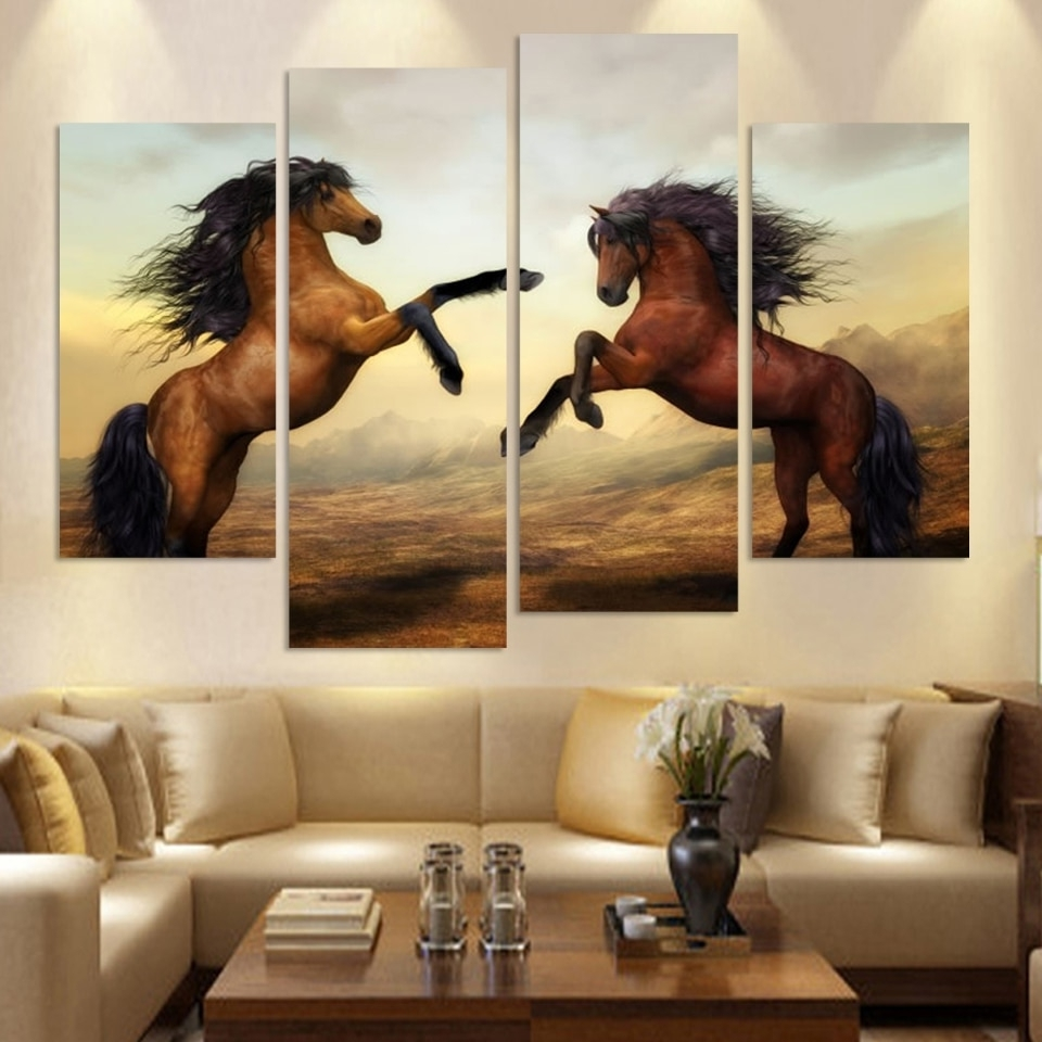 Cuadros Canvas Painting 4 Piece Running Horse Painting Modern Wall Regarding Well Known Horses Wall Art (View 2 of 20)