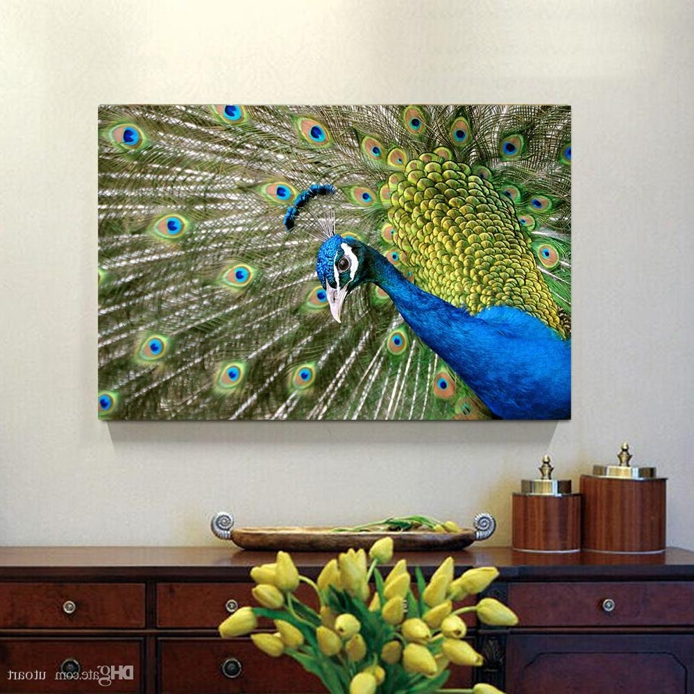 Current 2018 Peacock Canvas Painting Home Decor Canvas Wall Art Picture In Peacock Wall Art (View 14 of 15)