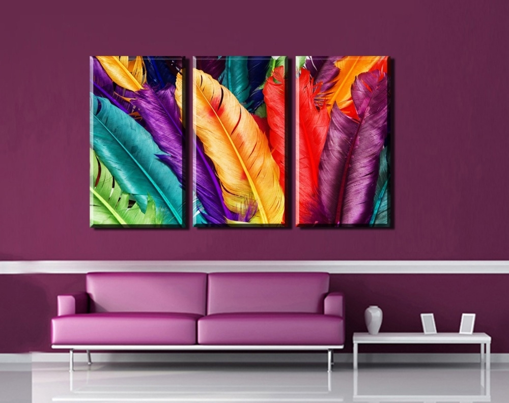 Current 3Pcs Modern Wall Art Canvas Print Colorful Feather Painting Intended For Colorful Wall Art (Gallery 17 of 20)