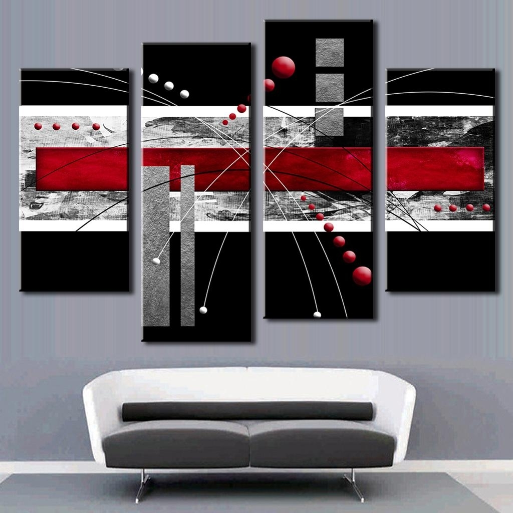 Current 4 Pcs/set Abstract Wall Art Painting Modern Black Background Throughout Red Wall Art (Gallery 13 of 15)