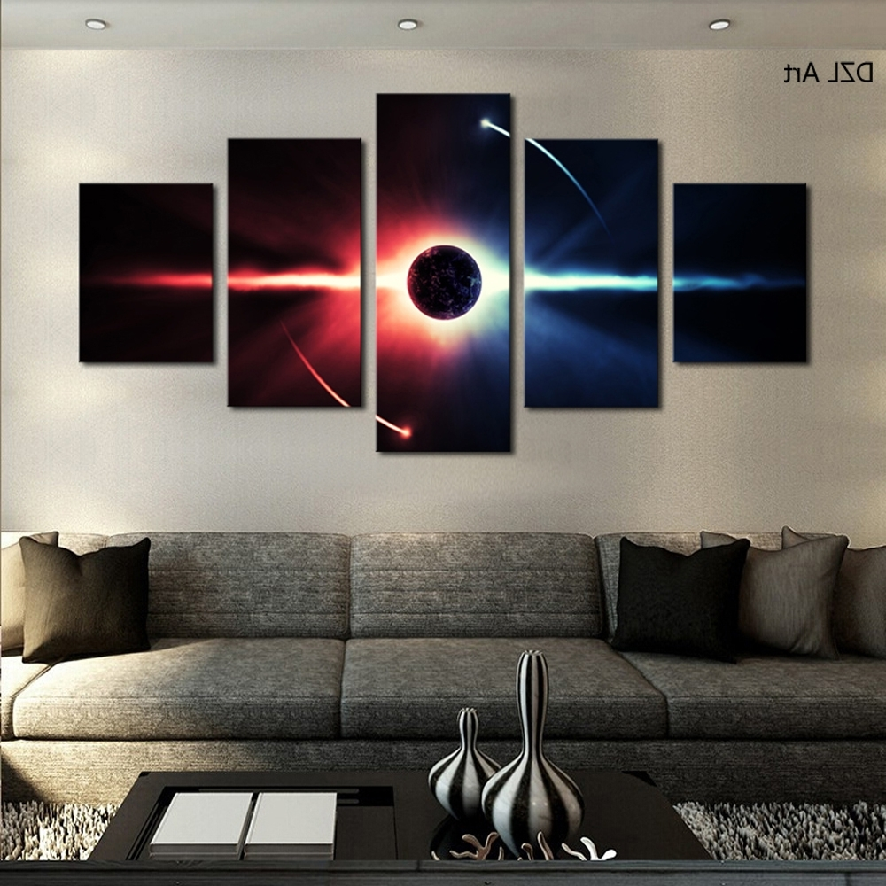 Current 5 Pcs(no Frame) Large Hd Abstrac Planet Canvas Print Painting For Throughout Large Framed Canvas Wall Art (View 5 of 20)