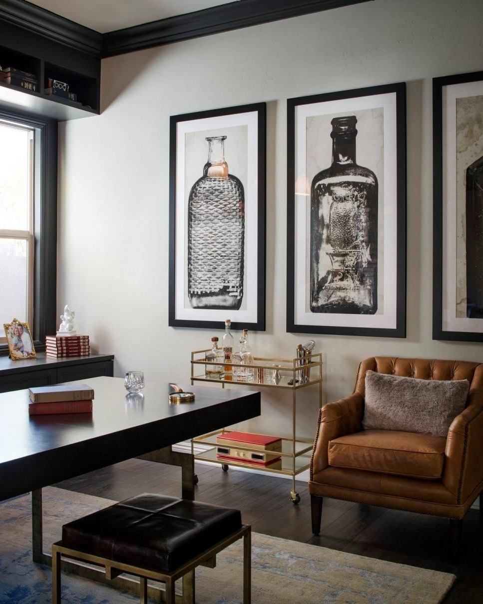 Current A Glass And Gold Bar Cart Brown Leather Armchair And Oversized For Manly Wall Art (View 4 of 20)