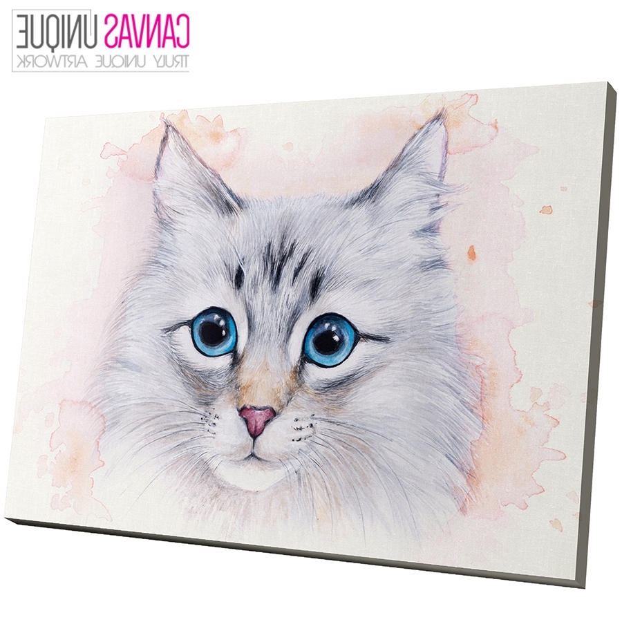 Current A775 Blue Grey Watercolor Kitten Cat Animal Canvas Wall Art Framed Within Cat Canvas Wall Art (View 7 of 20)