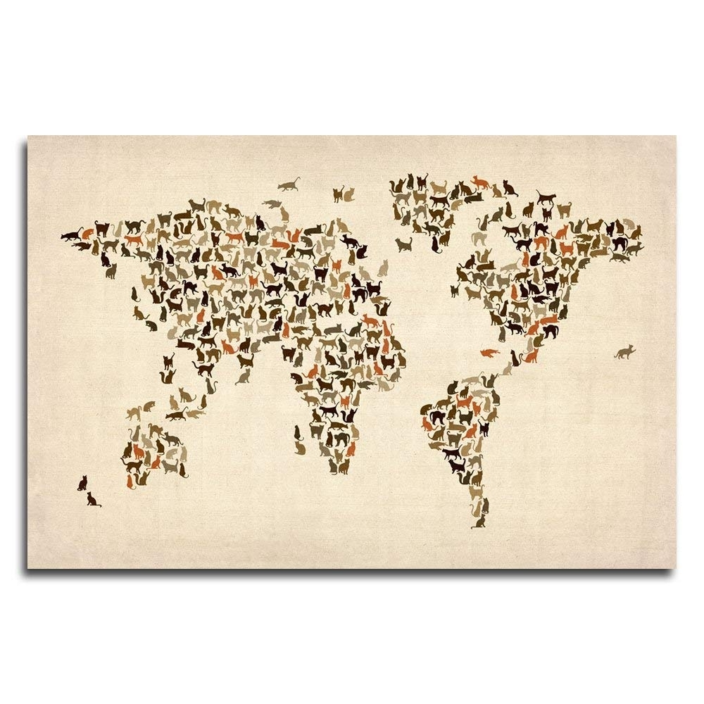 Current Amazon: World Map Of Catsmichael Tompsett, 16X24 Inch Canvas Within Map Wall Art Prints (View 2 of 20)