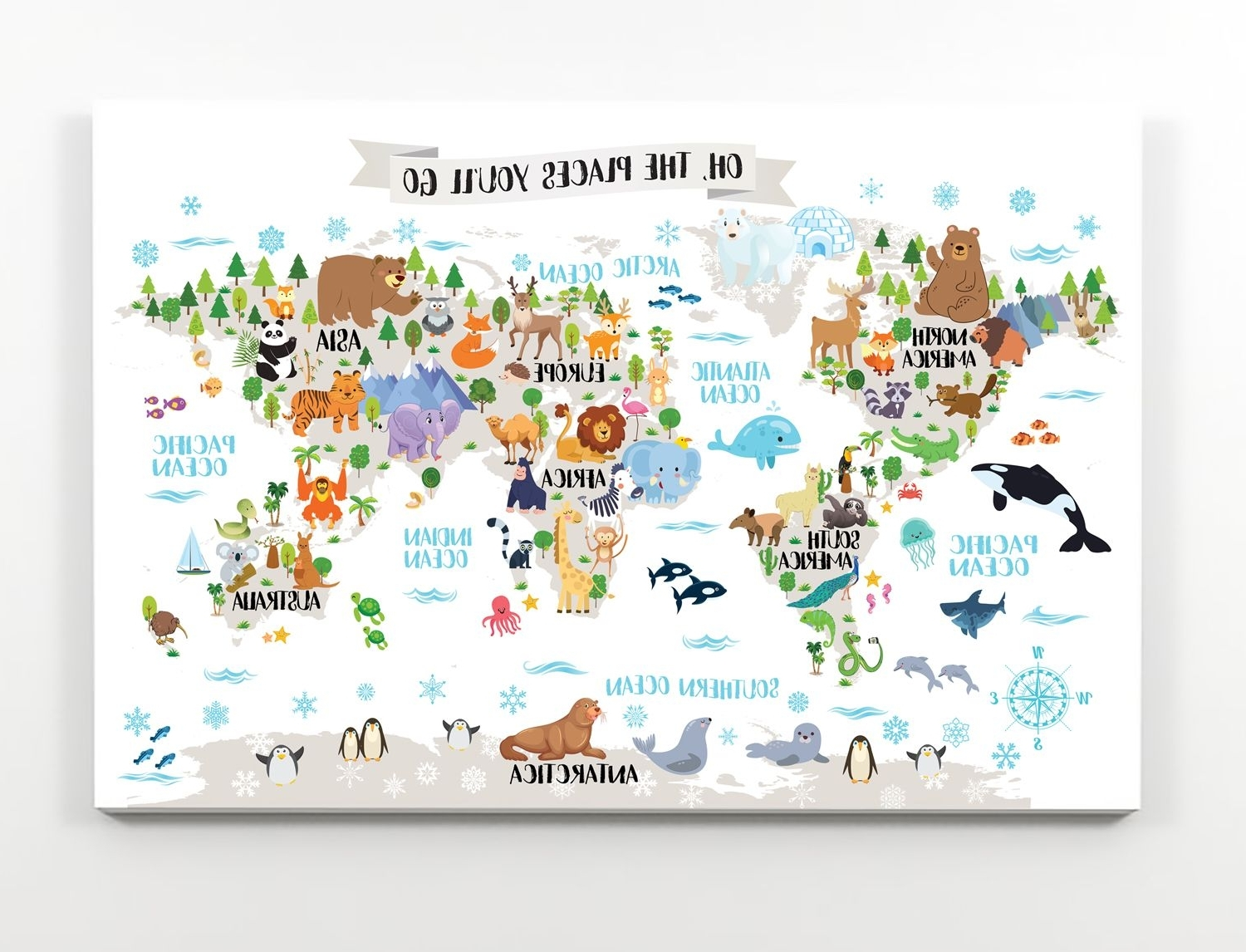 Current Animal World Map For Kids Room – Printable Nursery Map – Animal Map Intended For World Map Wall Art For Kids (View 5 of 20)