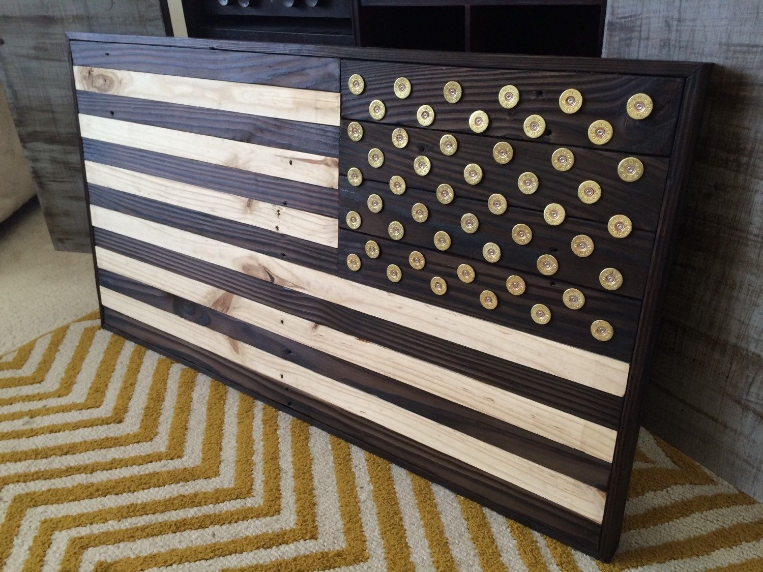 """Current Burned Wood American Flag With Winchester Shotgun Shell """"star"""" Head In Wooden American Flag Wall Art (Gallery 19 of 20)"""