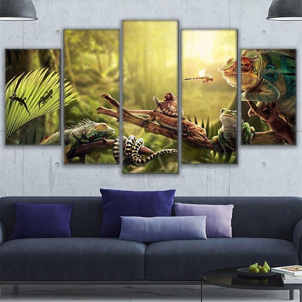 Current Canvas Wall Art Home Decor Prints Poster 5 Pieces Iguana Snail Gecko With Regard To Gecko Canvas Wall Art (View 5 of 20)