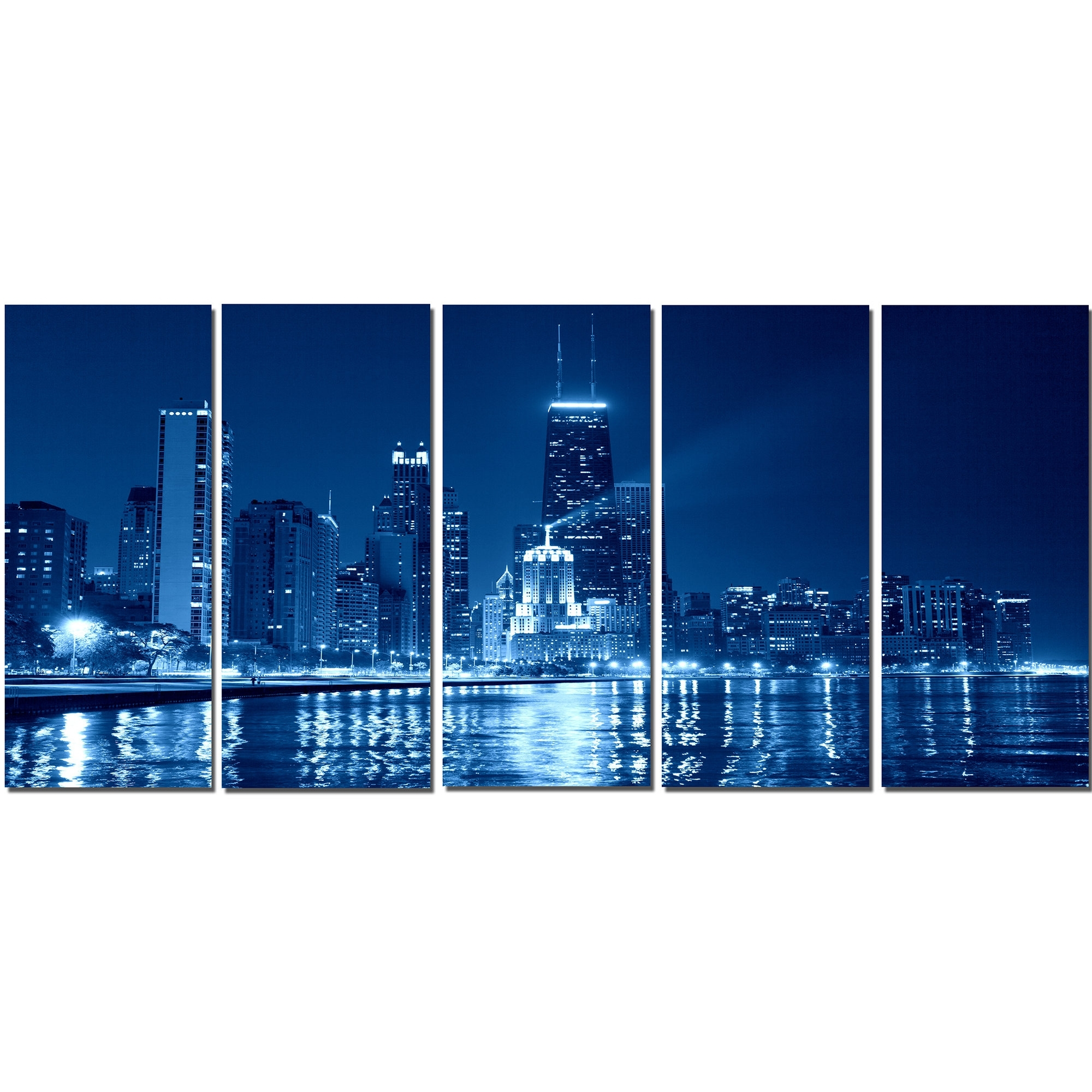 Current Chicago Wall Art With Regard To Designart Blue Chicago Skyline Night 5 Piece Wall Art On Wrapped (Gallery 7 of 15)