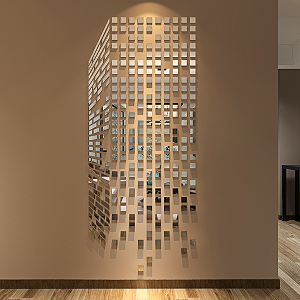 Current Diy Mosaic Little Squares 3D Acrylic Mirror Wall Sticker Living Room In Mirror Mosaic Wall Art (View 7 of 20)