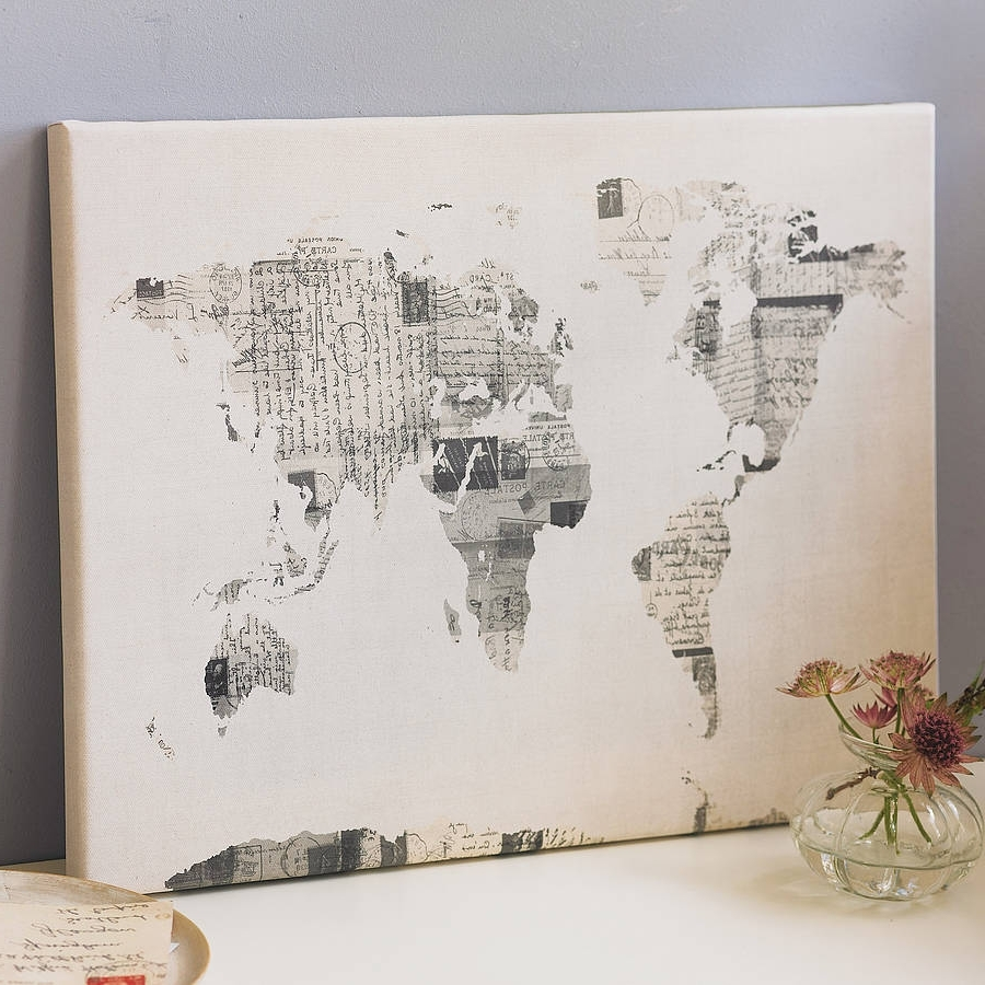 Current Explore World Map Wall Art Canvas World Map Print In Brown Best Of Pertaining To Map Wall Art Prints (View 3 of 20)