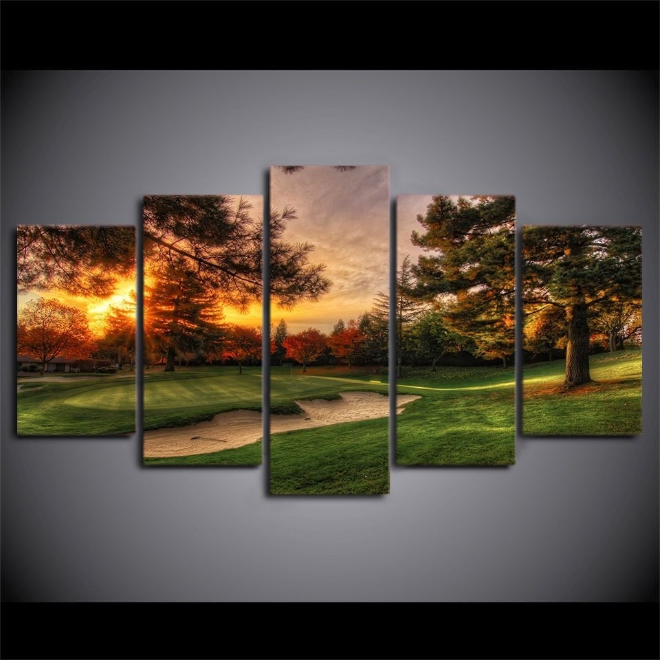 Current Framed Golf Course Sunset 5 Pcs Painting Printed Canvas Wall Art With Regard To Golf Canvas Wall Art (Gallery 8 of 20)