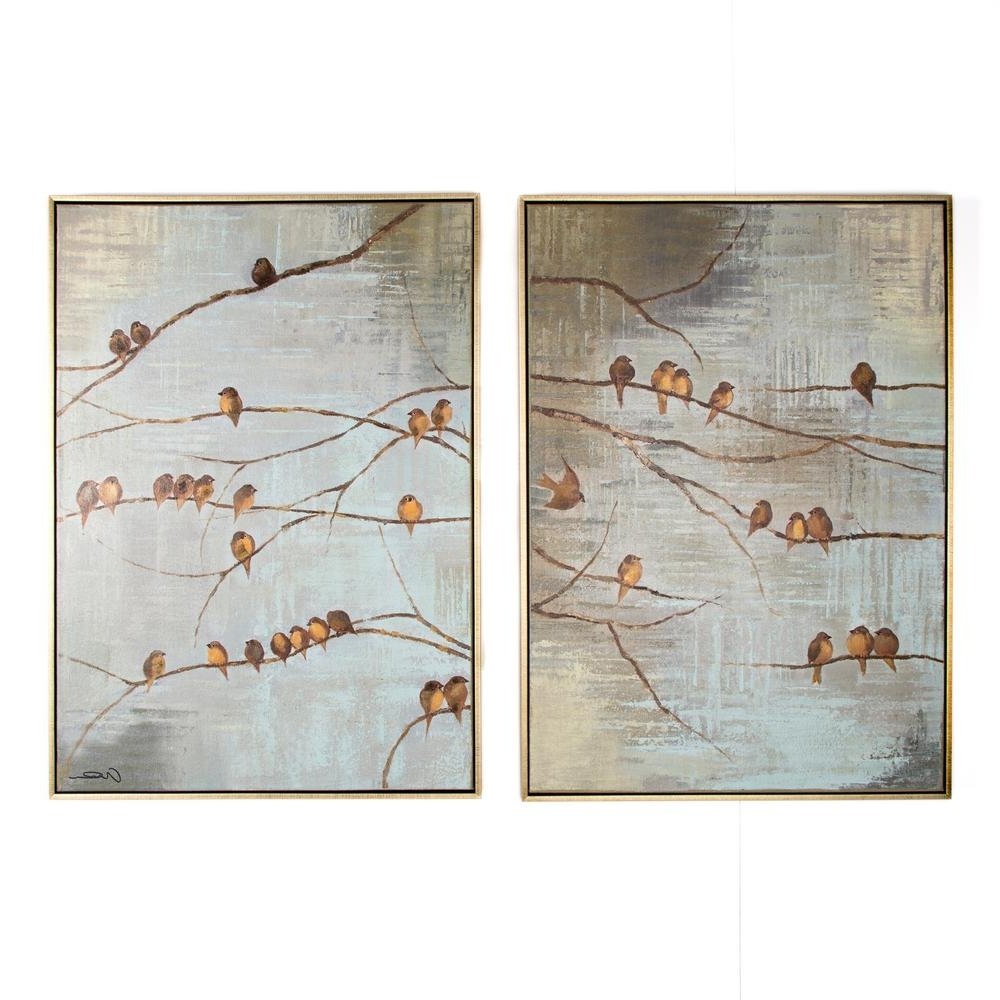 "Current Graham & Brown 28 In. X 39 In.""flock Of Birds"" Printed Framed Canvas Throughout Bird Framed Canvas Wall Art (Gallery 1 of 20)"