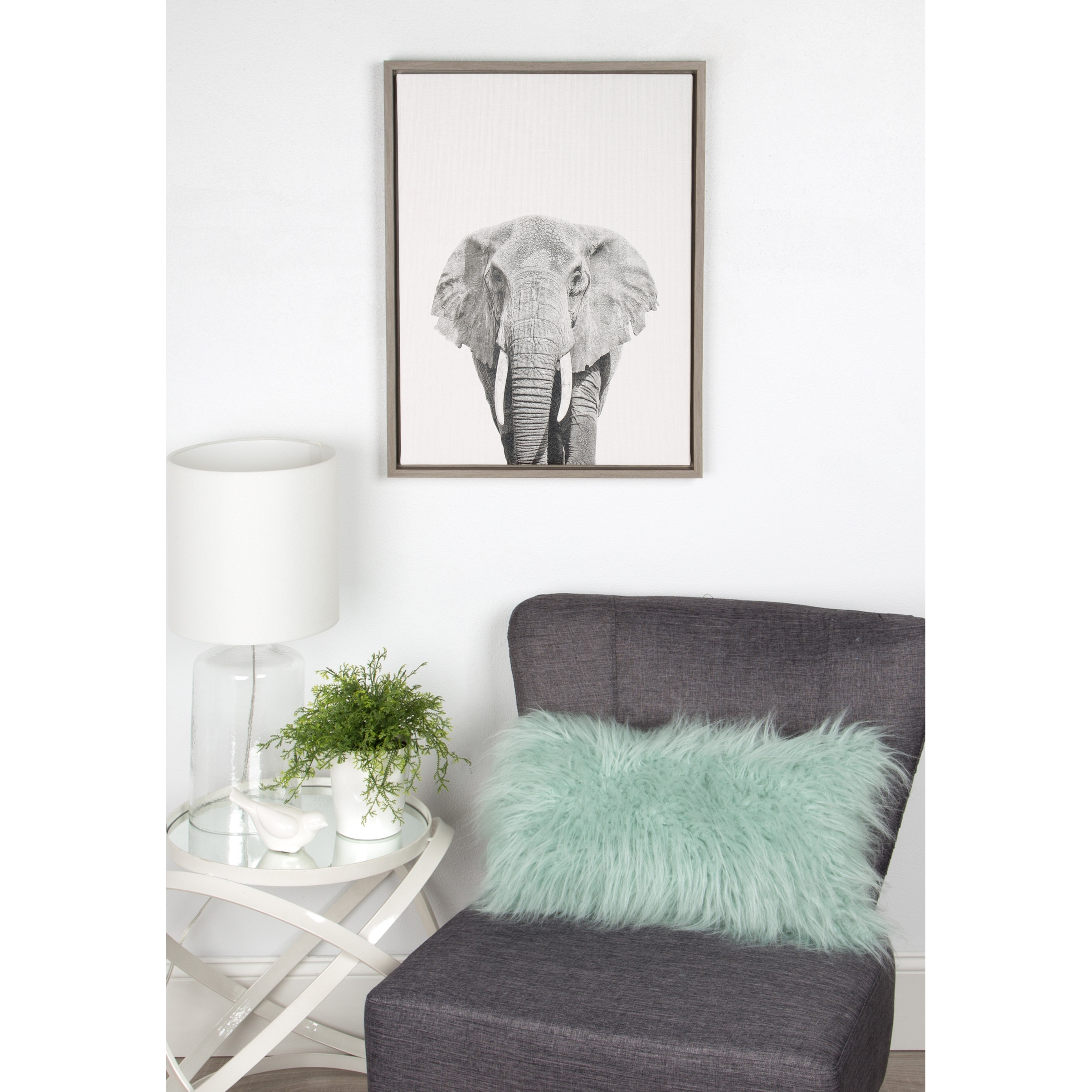 Current Grey Wall Art For Shop Simon Te Tai Designovation 'sylvie Elephant' Canvas Wall Art (View 6 of 20)