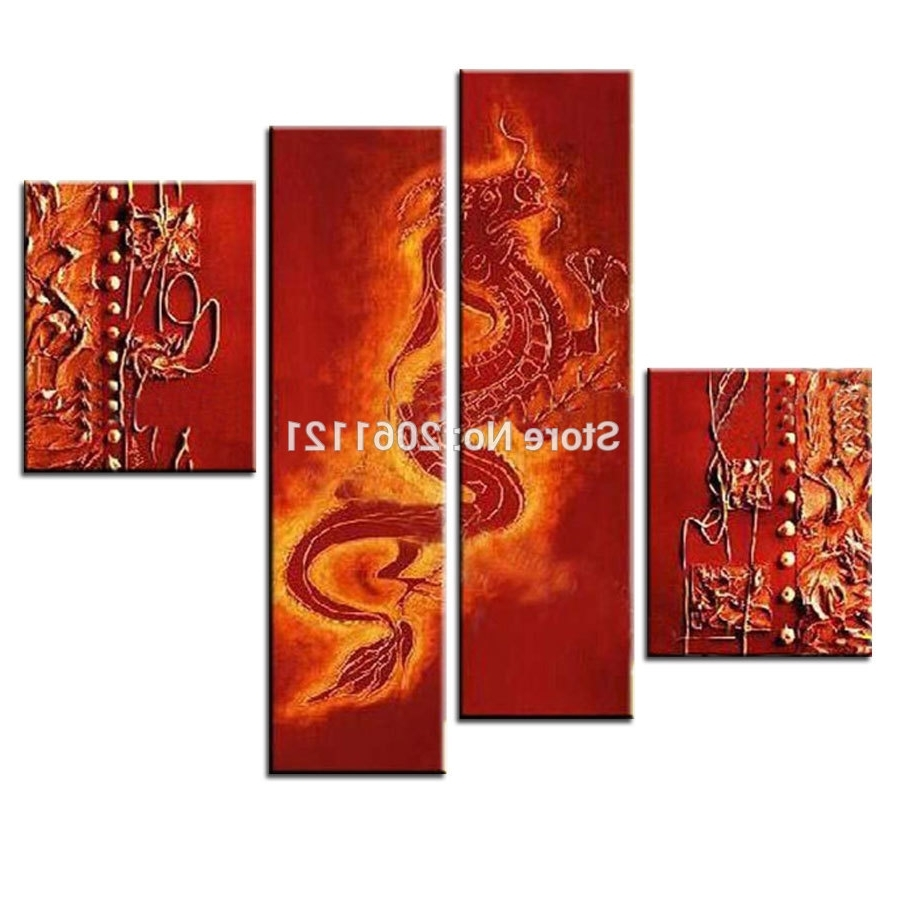 Current Handmade Canvas Wall Painting Red Dragon Oil Painting Traditional With Chinese Wall Art (View 10 of 20)