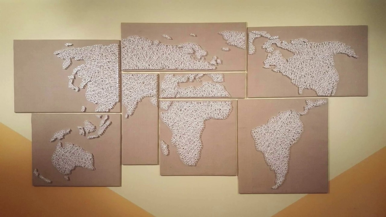 Current How To Make A String Art World Map – Youtube Regarding String Map Wall Art (View 6 of 20)