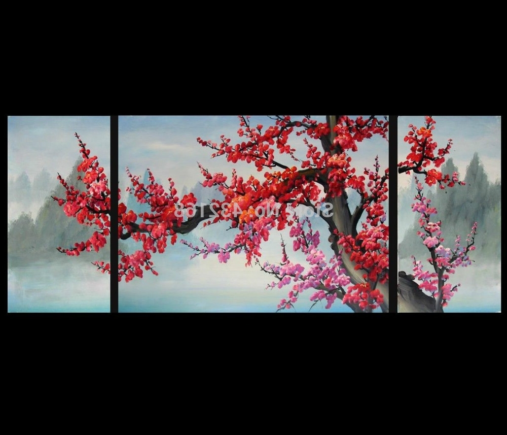 Current Japanese Cherry Blossom Abstract Art Paintings Modern Wall Art Decor Inside Japanese Wall Art (Gallery 5 of 20)