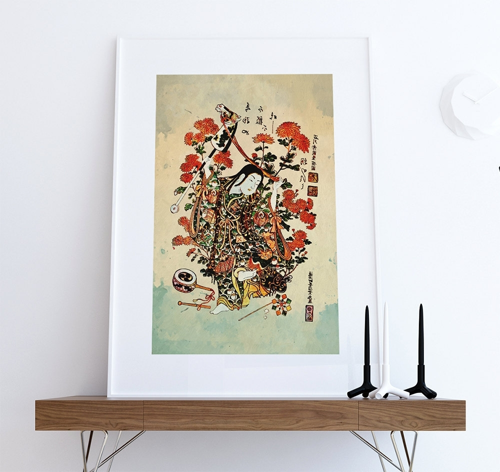 Current Japanese Wall Art Regarding Japanese Print Art Vintage Wood Block Print On Cotton Canvas And (View 3 of 20)