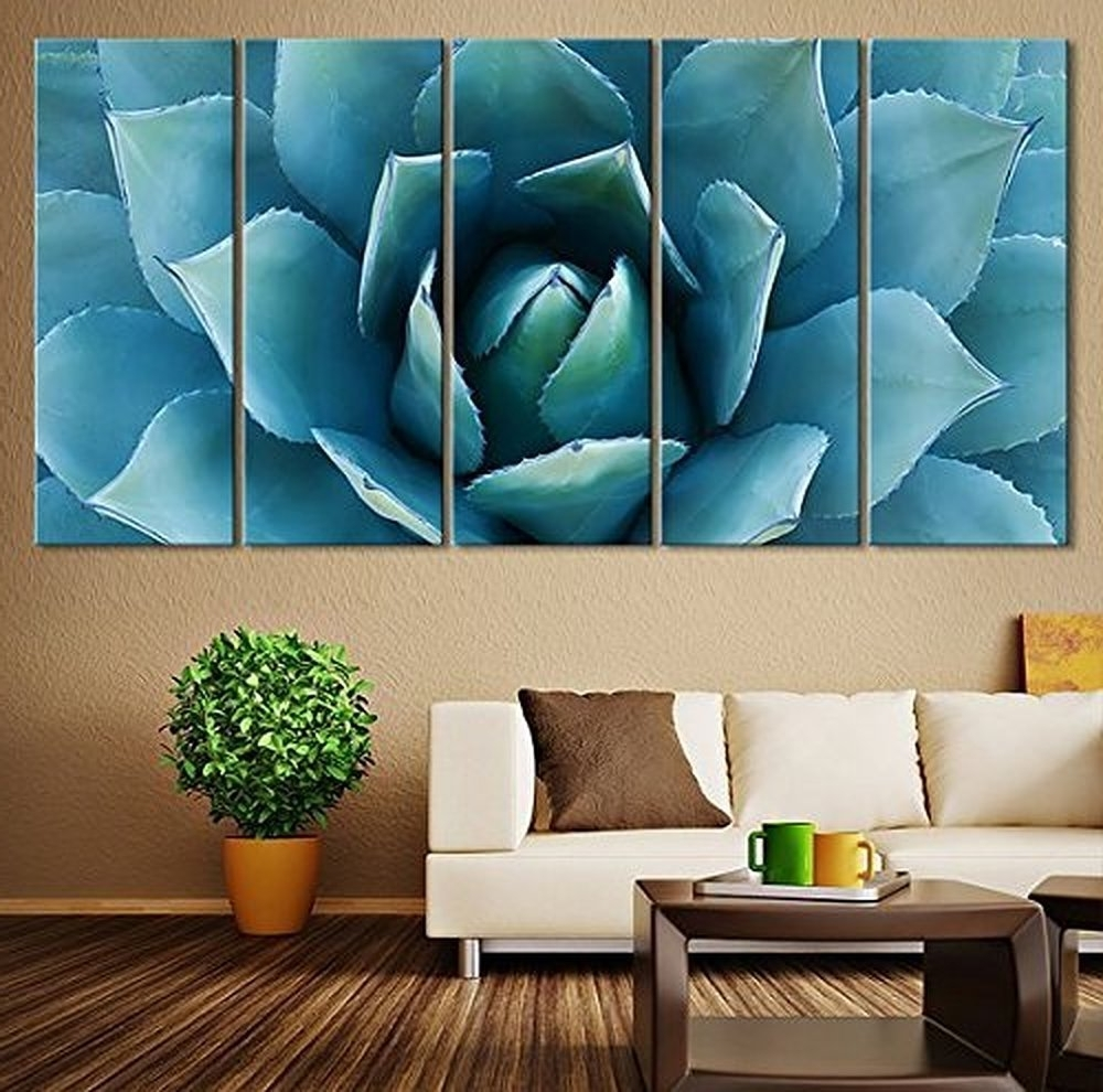 Current Large Wall Art Intended For 5 Piece Large Wall Art Blue Agave Canvas Prints Agave Flower Large (View 2 of 15)