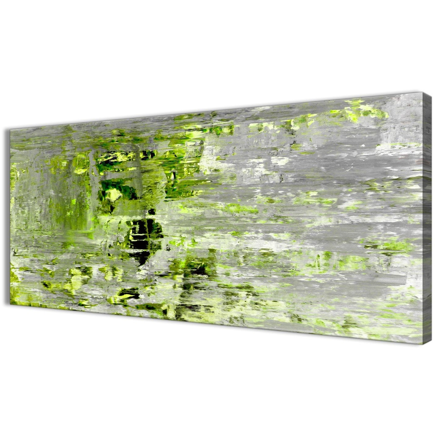 Current Lime Green Grey Abstract Painting Wall Art Print Canvas – Modern Inside Green Wall Art (View 16 of 20)