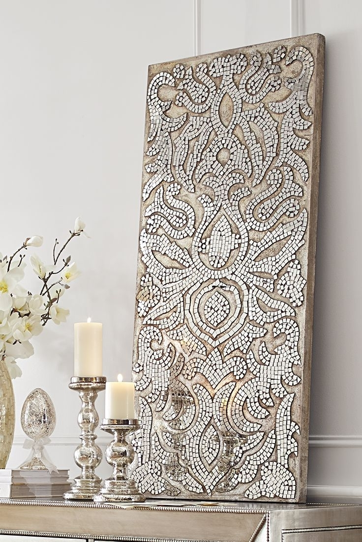 Current Mirror Mosaic Wall Art For Champagne Mirrored Mosaic Damask Wall Panel (View 2 of 20)