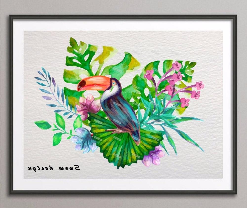 Current Oiseau Tropical Original Aquarelle Wall Art Toile Peinture Oiseau Inside Tropical Wall Art (Gallery 16 of 20)