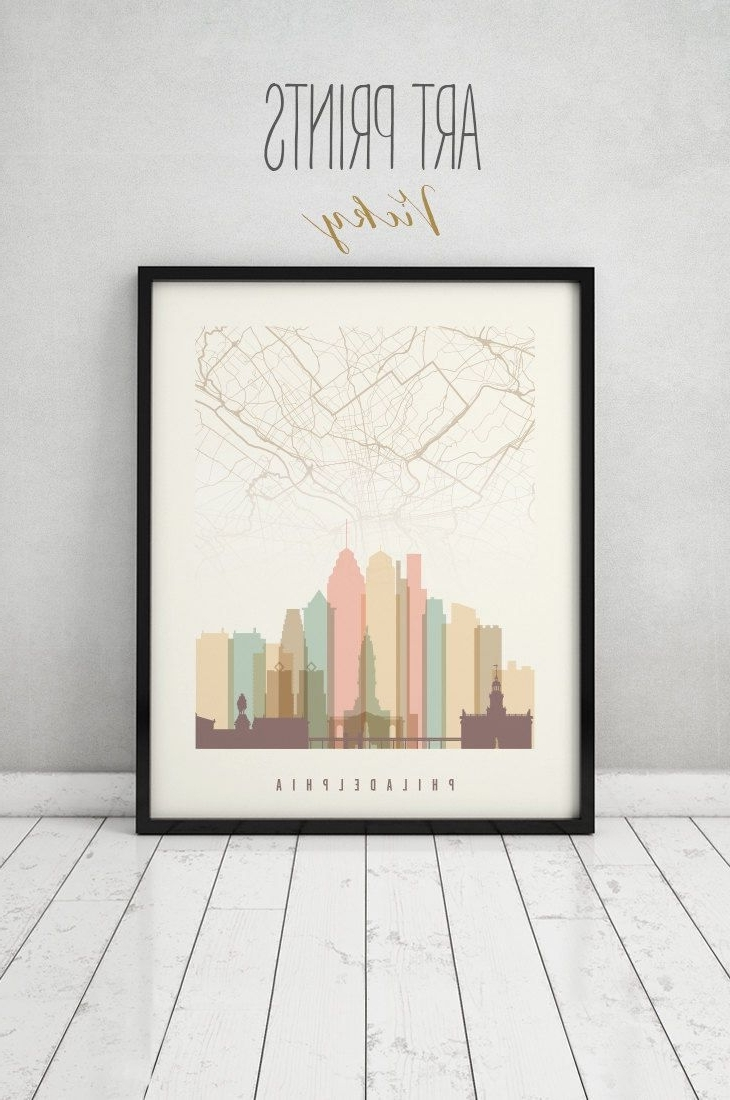 Current Philadelphia Map Print, Philadelphia Map Poster, City Maps Inside Philadelphia Map Wall Art (View 4 of 20)