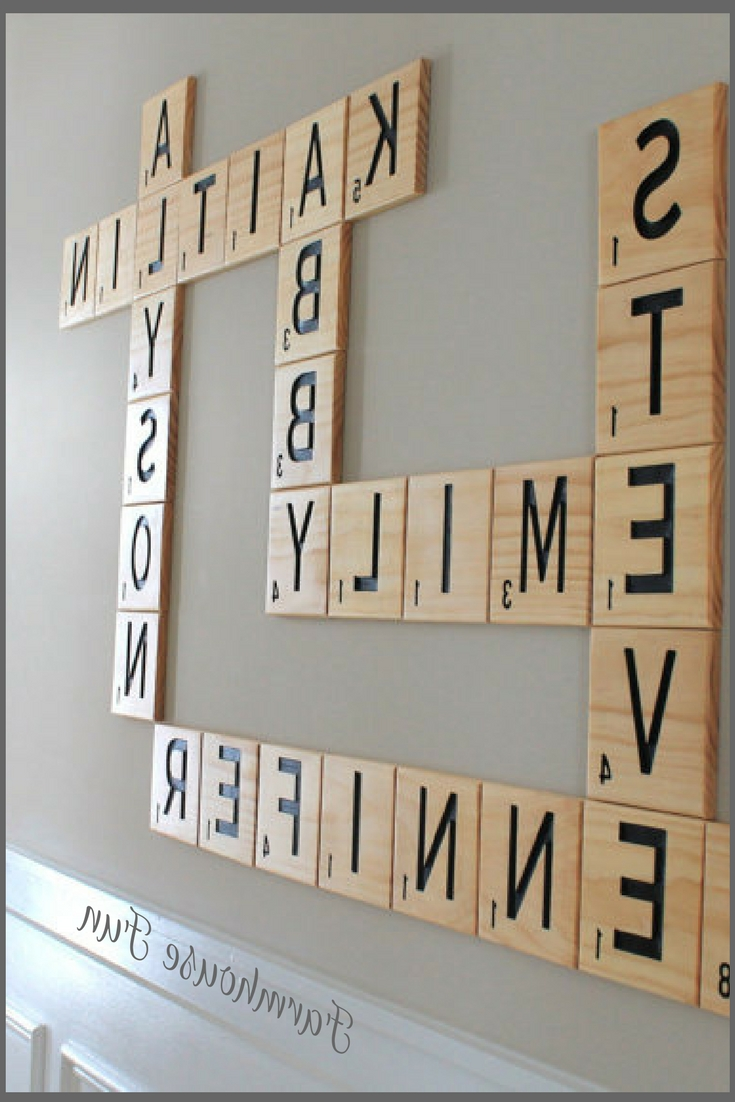 "Current Scrabble Wall Art With Carved Scrabble Tiles Wall Art 5.5"", Wall Letters, Family (Gallery 13 of 20)"