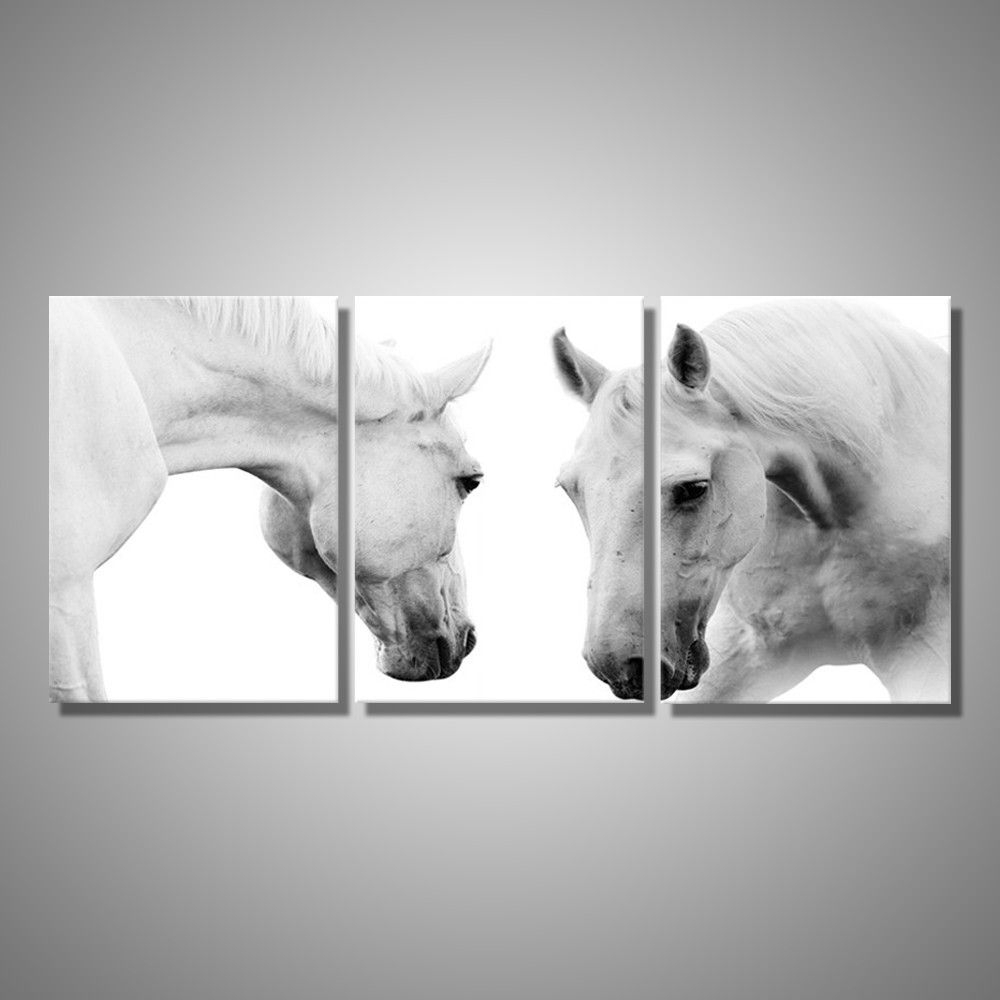 Current White Horses 3 Piece Wall Art (View 3 of 20)