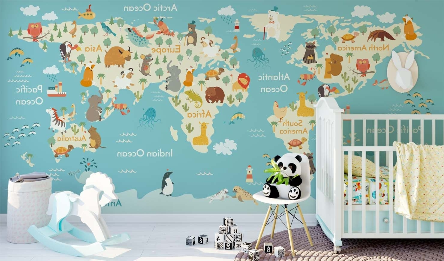 Current World Map Wall Art For Kids Regarding Jungle Animals Theme World Map Wall Sticker Mural Removable Non (Gallery 13 of 20)
