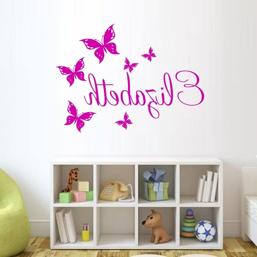 Custom Made Butterfly Personalized Wall Sticker Name Vinyl Wall Within Newest Personalized Wall Art (View 2 of 15)