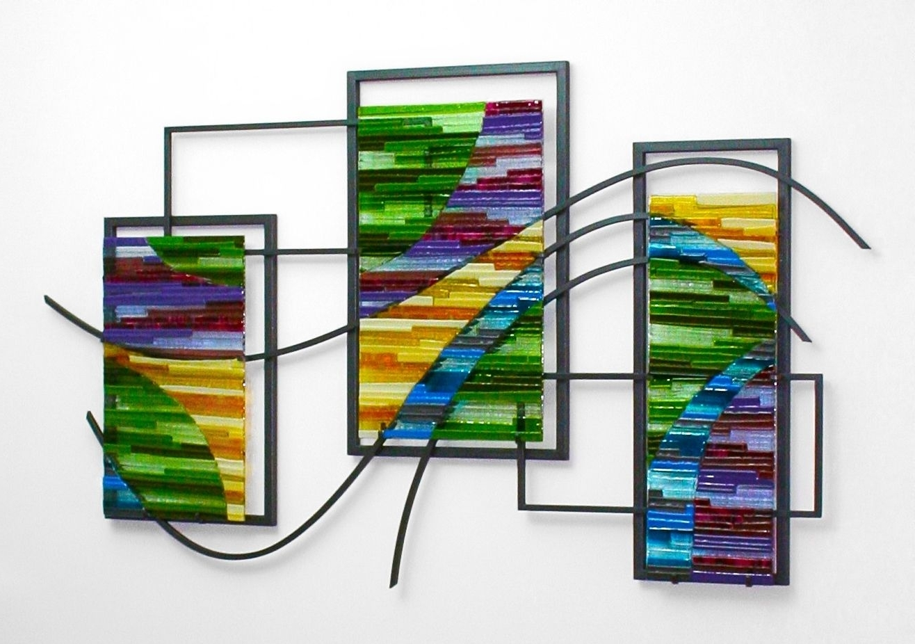 Custom Made Fused Glass And Metal Wall Artbonnie M (View 3 of 15)