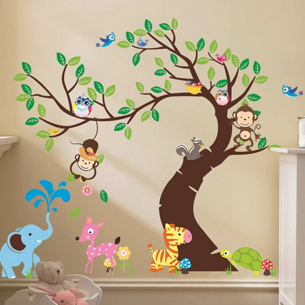 Cute Monkey Wall Sticker Zoo Original Animal Wall Arts For Kids Room Intended For Popular Baby Room Wall Art (View 2 of 20)