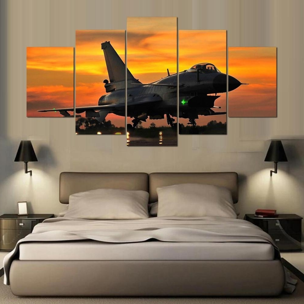 Dafenjingmo Arts 2017 Hottest 5 Piece Wall Art Painting Aviation Intended For Widely Used Aviation Wall Art (View 7 of 20)