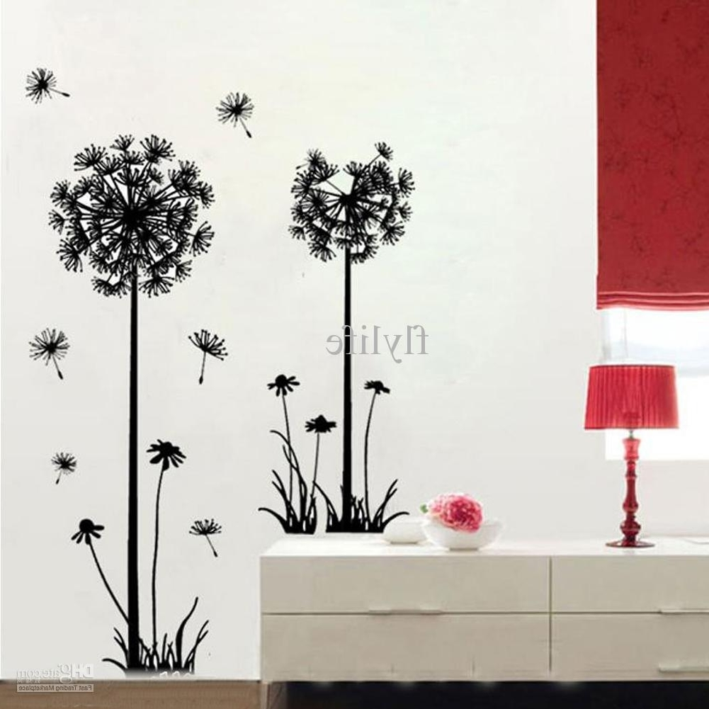 Dandelion Wall Art Regarding Most Recently Released Large Black Dandelion Wall Stickers, Art Room Decor Wall Decals Peel (View 5 of 20)
