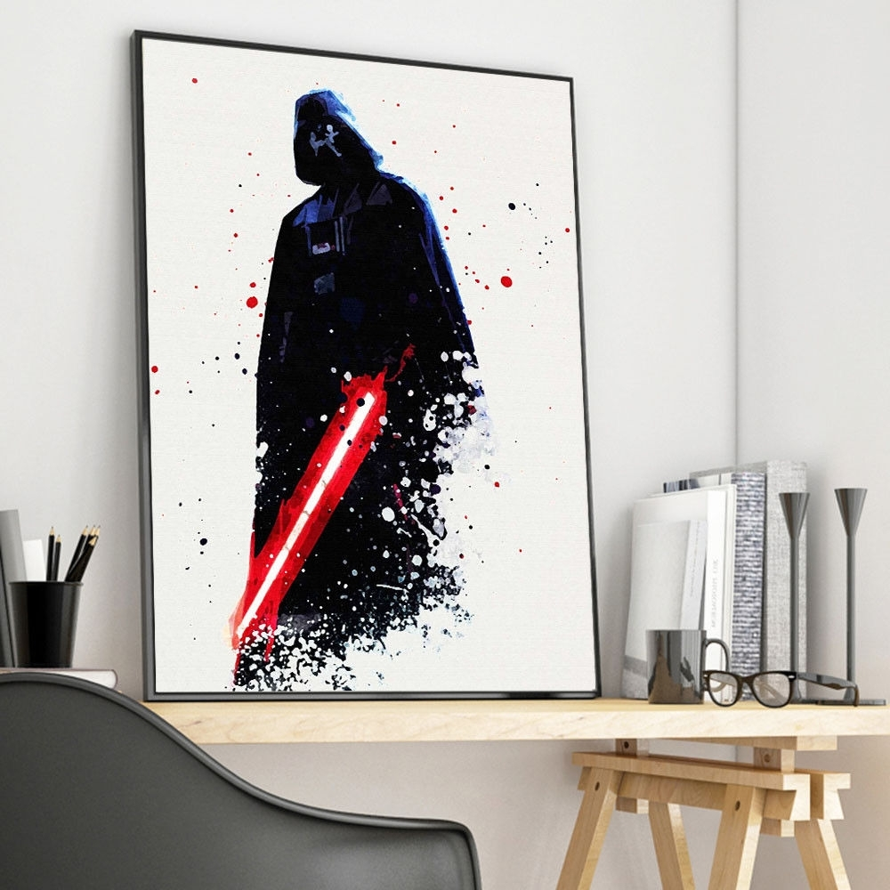 Darth Vader Wall Art Intended For Widely Used Watercolor Star Wars Darth Vader Movie Canvas Poster Art Print Wall (Gallery 7 of 20)