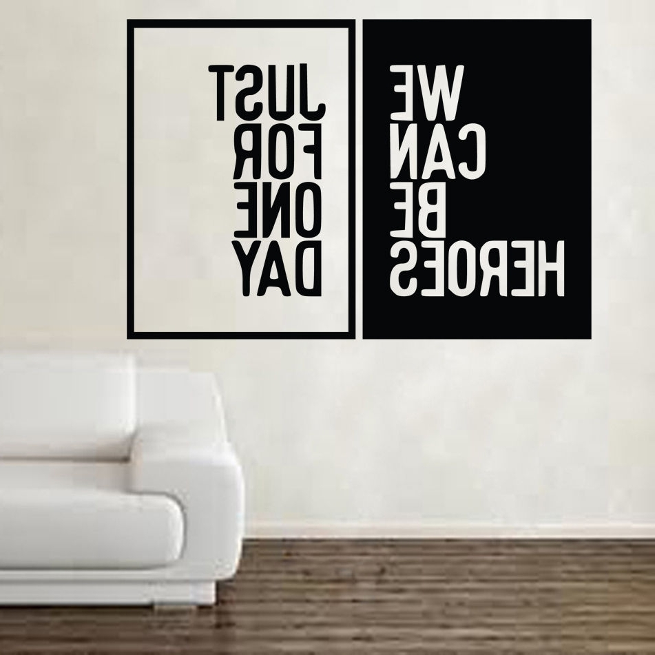 David Bowie Heroes Song Music Lyrics Wall Sticker Art Free Shipping Inside Most Recently Released Song Lyric Wall Art (View 2 of 20)