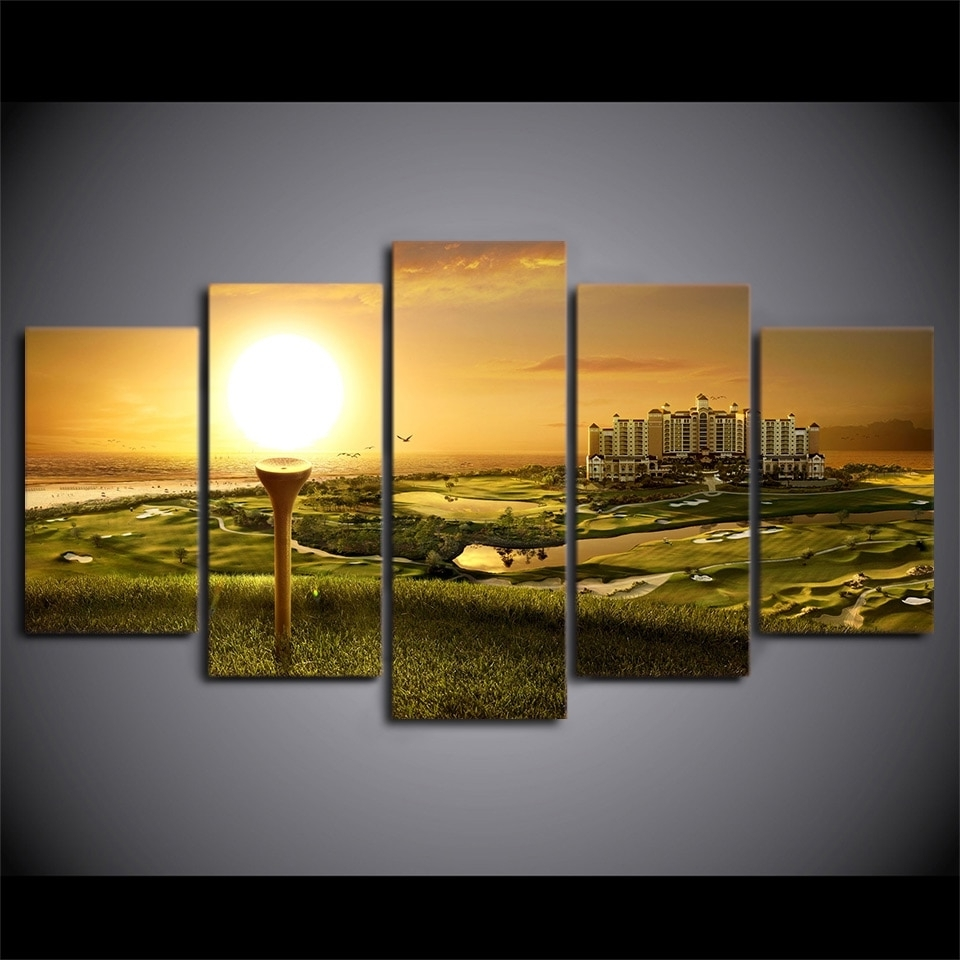 Decorative Pictures Canvas Painting Wall Art 5 Panel Golf Course In Most Current Golf Canvas Wall Art (Gallery 13 of 20)