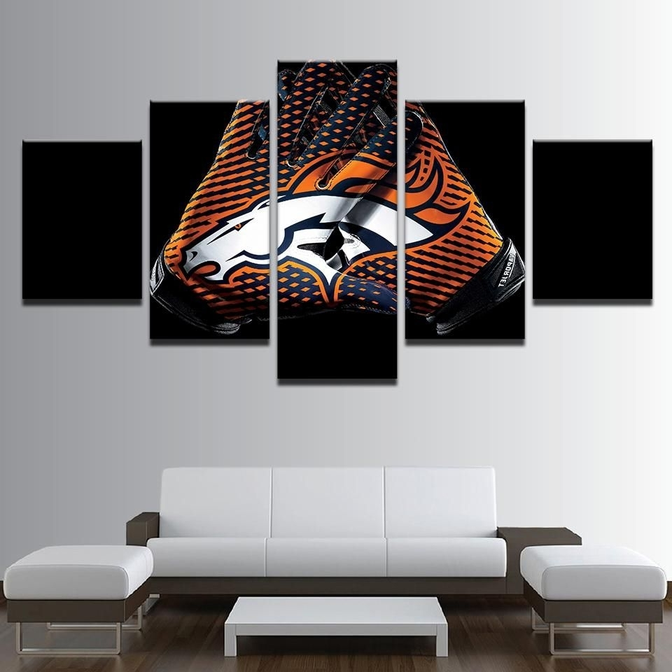 Denver Broncos Nfl Football 5 Panel Canvas Wall Art Home Decor Pertaining To Current Broncos Wall Art (Gallery 5 of 20)