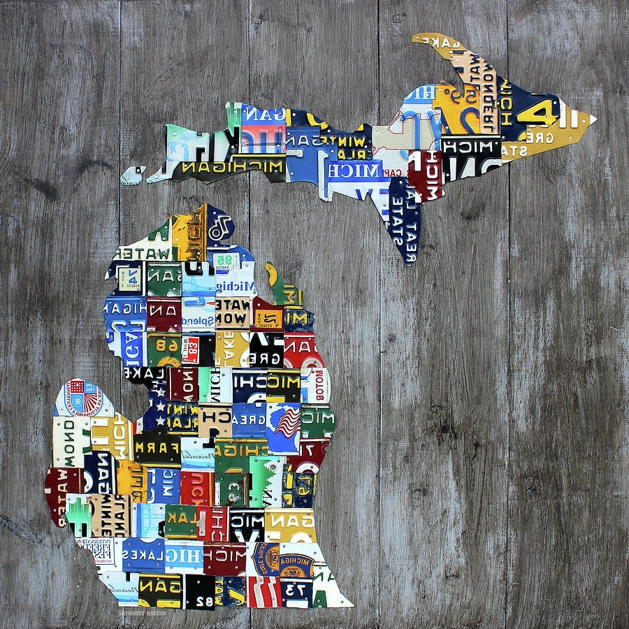 Design Turnpike – Artwork For Sale – Dearborn, Mi – United States Inside Most Current License Plate Map Wall Art (View 3 of 20)